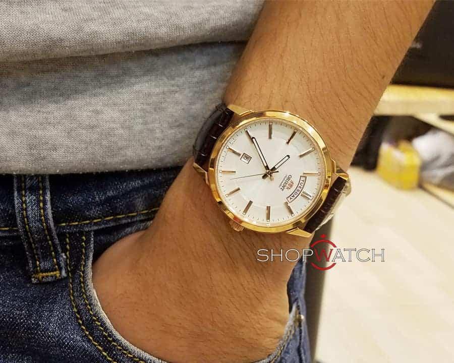đồng hồ nam Orient FEV0U002WH dây da cá sấu
