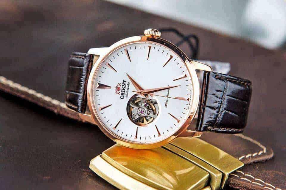 đồng hồ Orient mạ vàng open heart